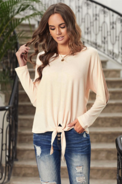 Shewin Tie Front Slit Arm Top - Product List Image