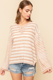 Hem and Thread Tie Front Stripe Sweater - Product Mini Image