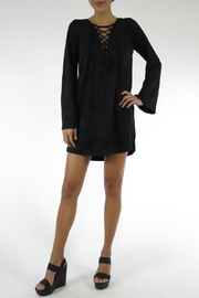 Olivaceous Tie-Front Suede Dress - Front full body