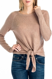 Olivaceous Tie Front Sweater - Product Mini Image