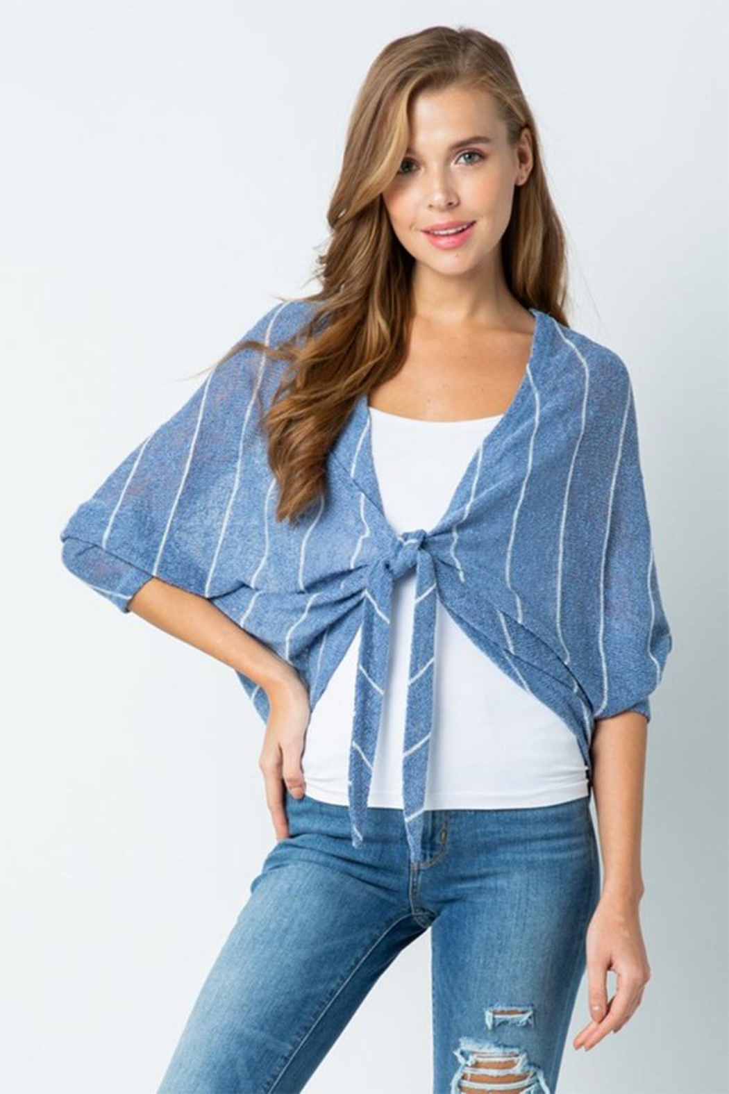 Style Rack Tie Front Sweater - Main Image