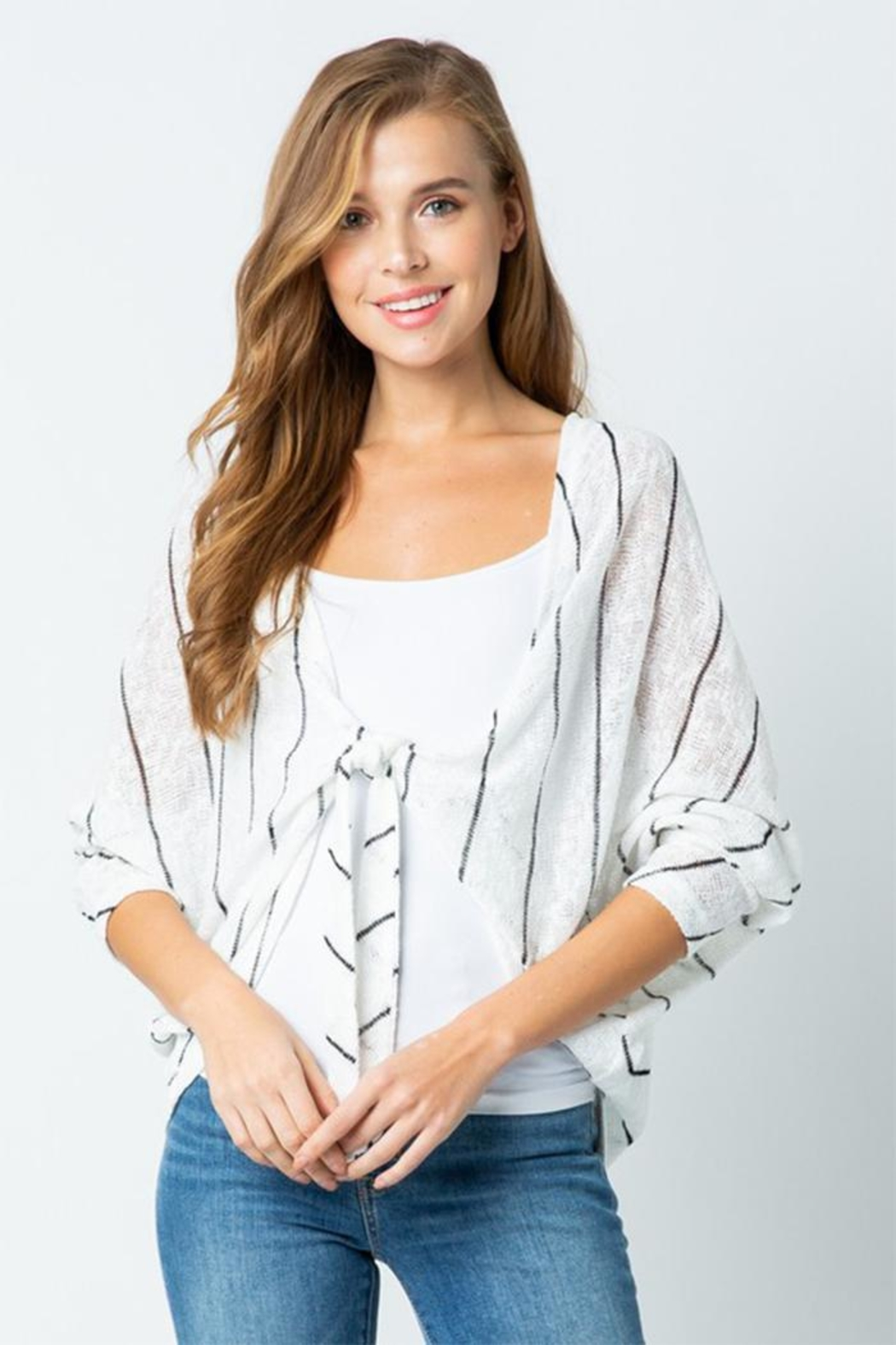 Style Rack Tie Front Sweater - Front Cropped Image