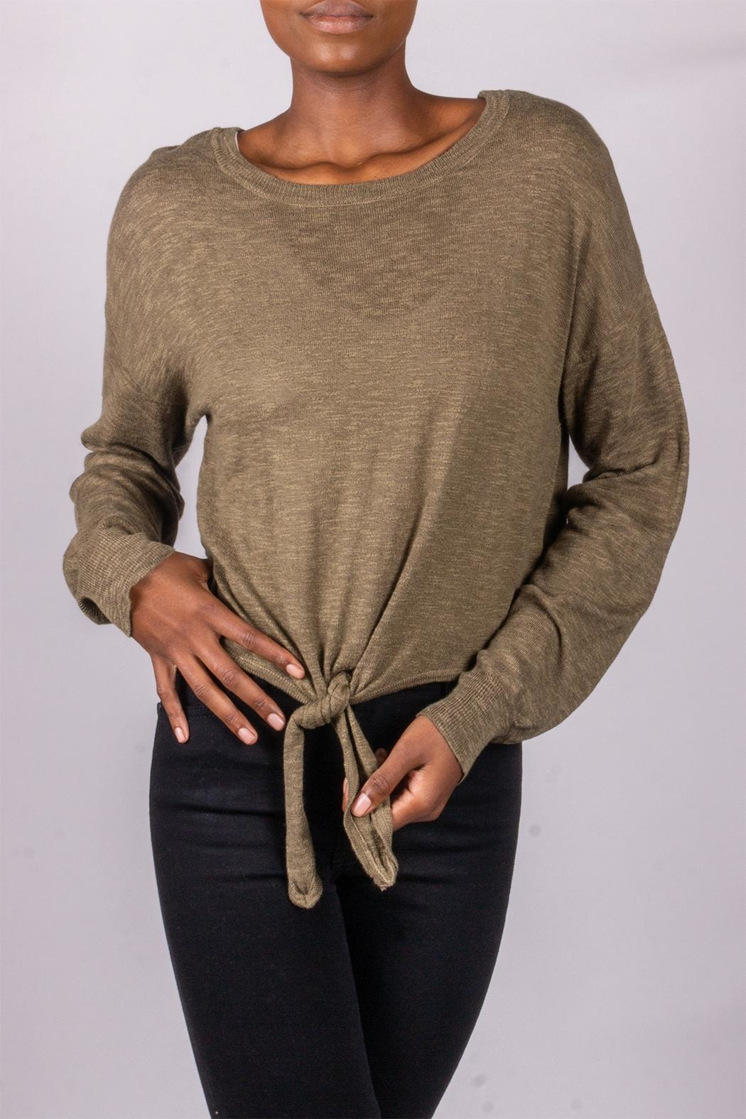 Love Tree Tie-Front Sweater Olive - Front Full Image