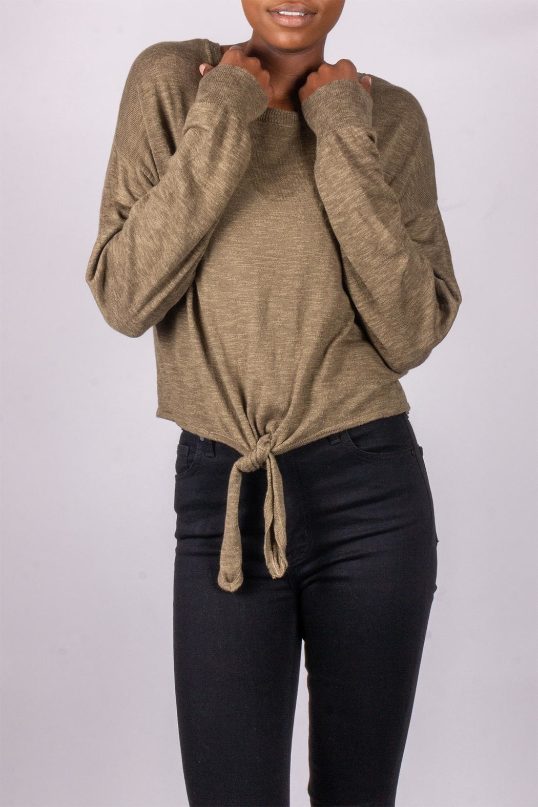Love Tree Tie-Front Sweater Olive - Main Image