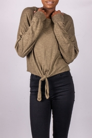 Love Tree Tie-Front Sweater Olive - Front cropped
