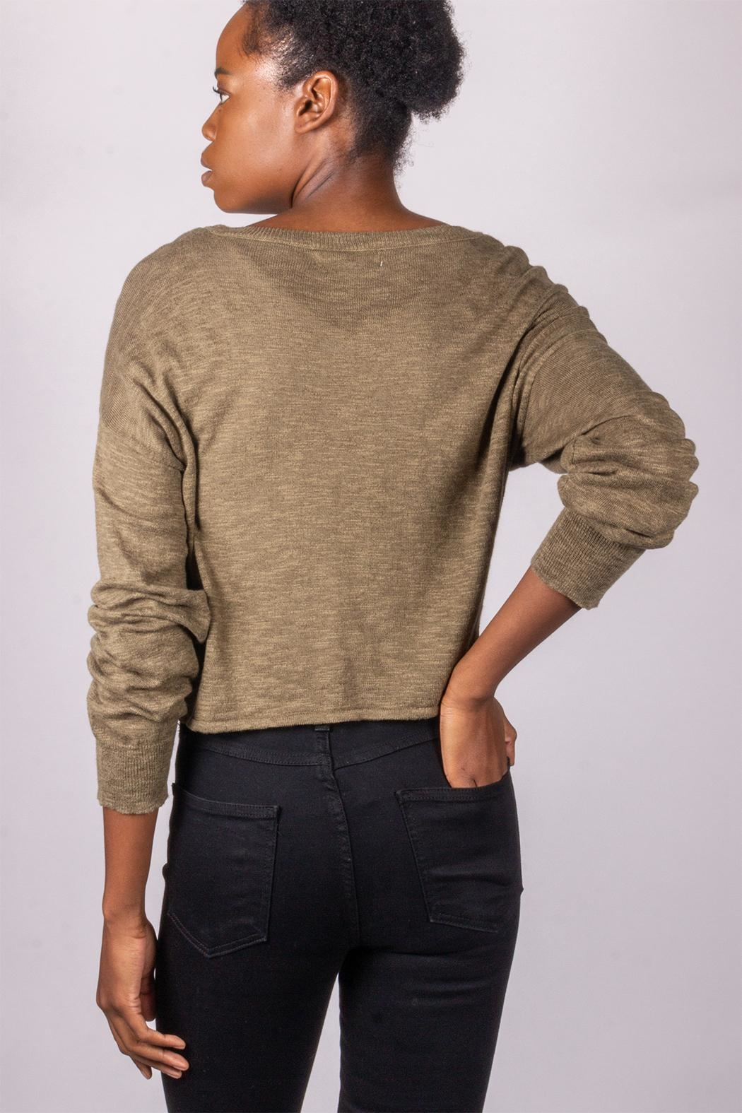 Love Tree Tie-Front Sweater Olive - Back Cropped Image