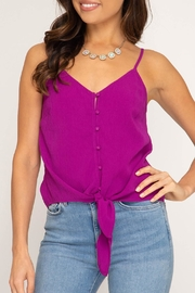 She + Sky Tie Front Tank - Product Mini Image