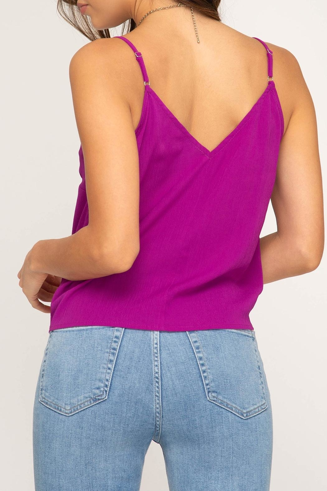 She + Sky Tie Front Tank - Back Cropped Image