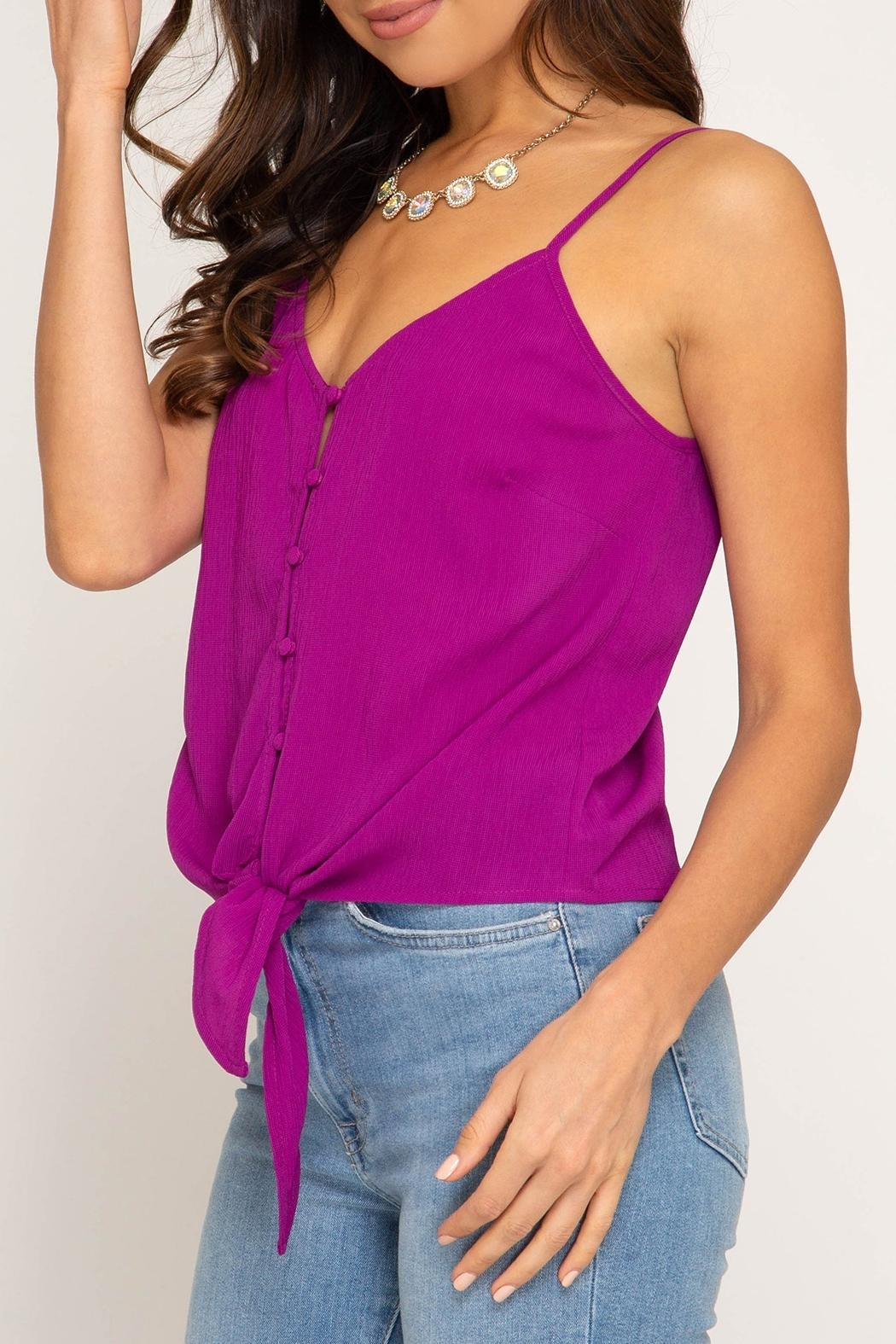 She + Sky Tie Front Tank - Side Cropped Image