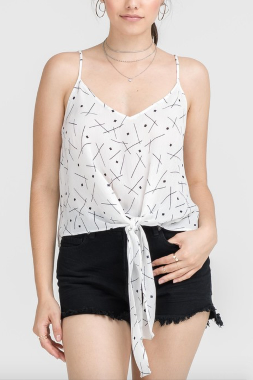 Lush Clothing  Tie Front Tank Top - Side Cropped Image
