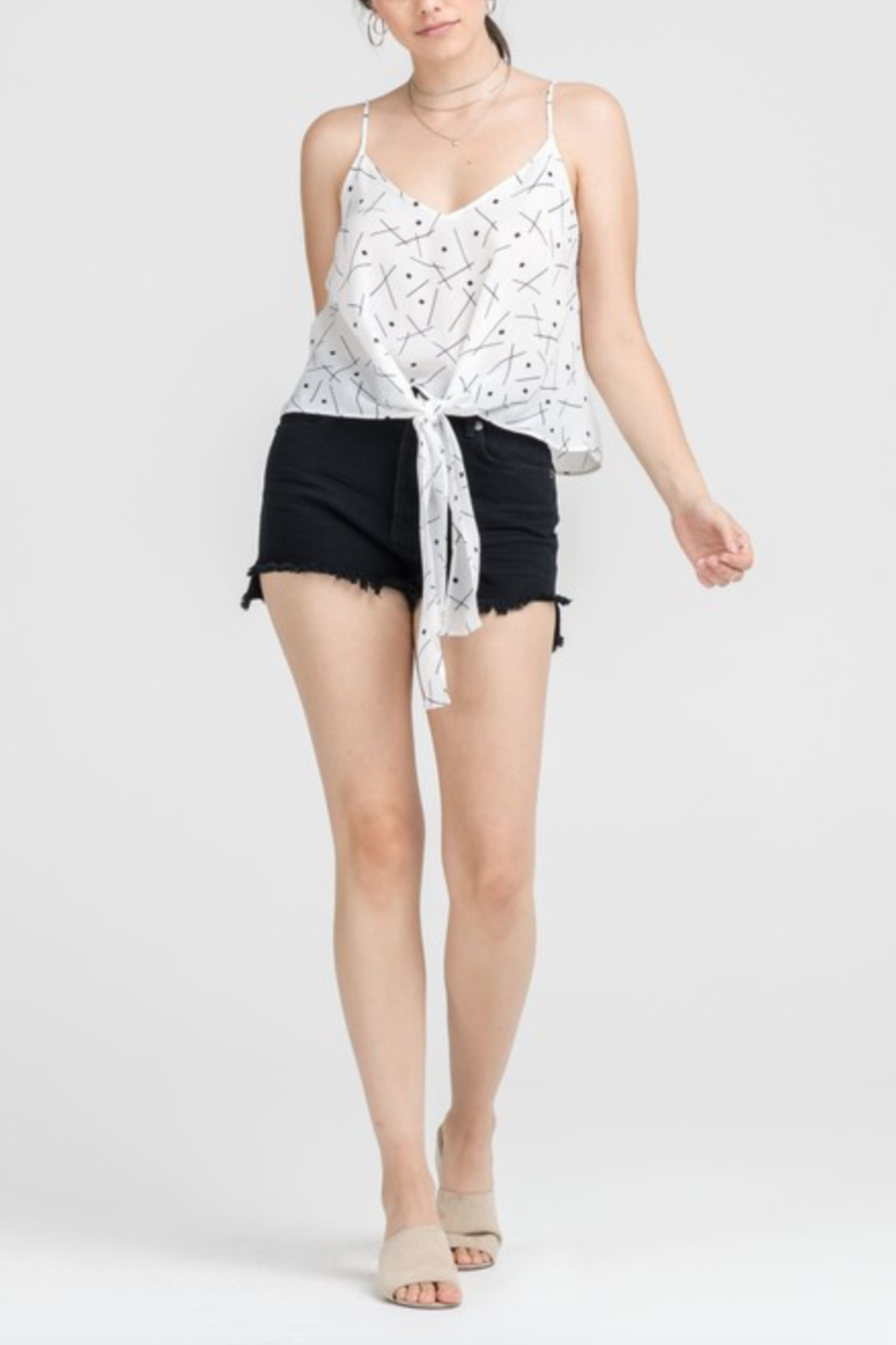 Lush Clothing  Tie Front Tank Top - Front Cropped Image