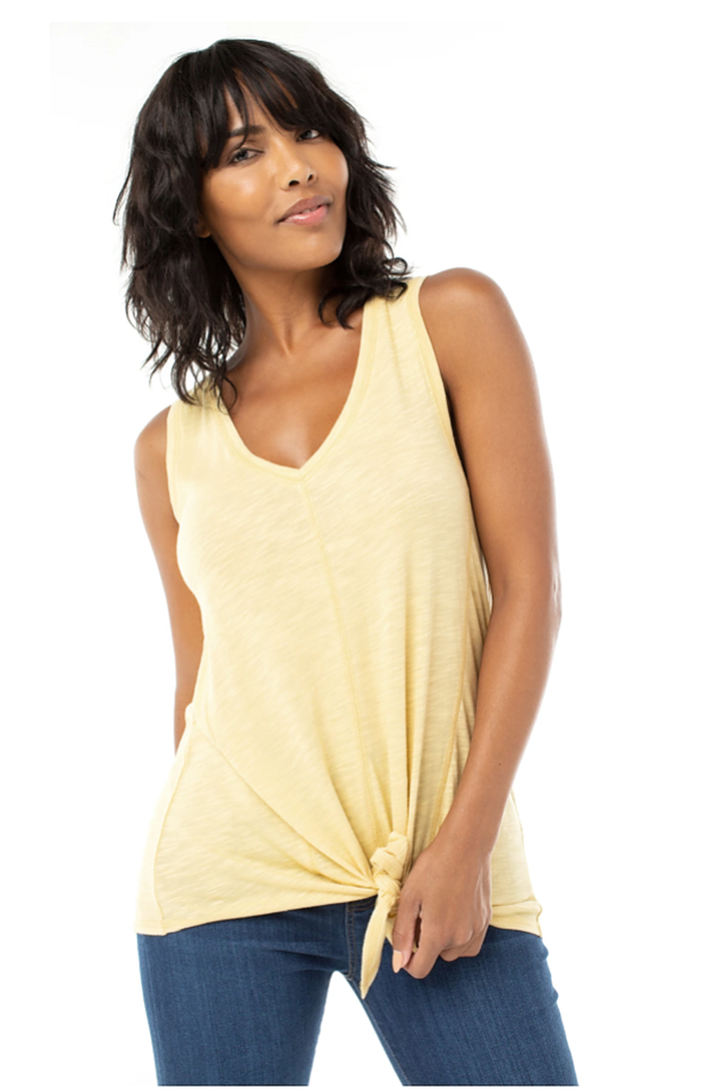 Liverpool Tie Front Tank w/seaming Detail - Front Cropped Image