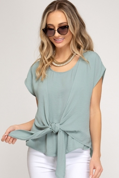 She + Sky Tie Front Top - Product List Image