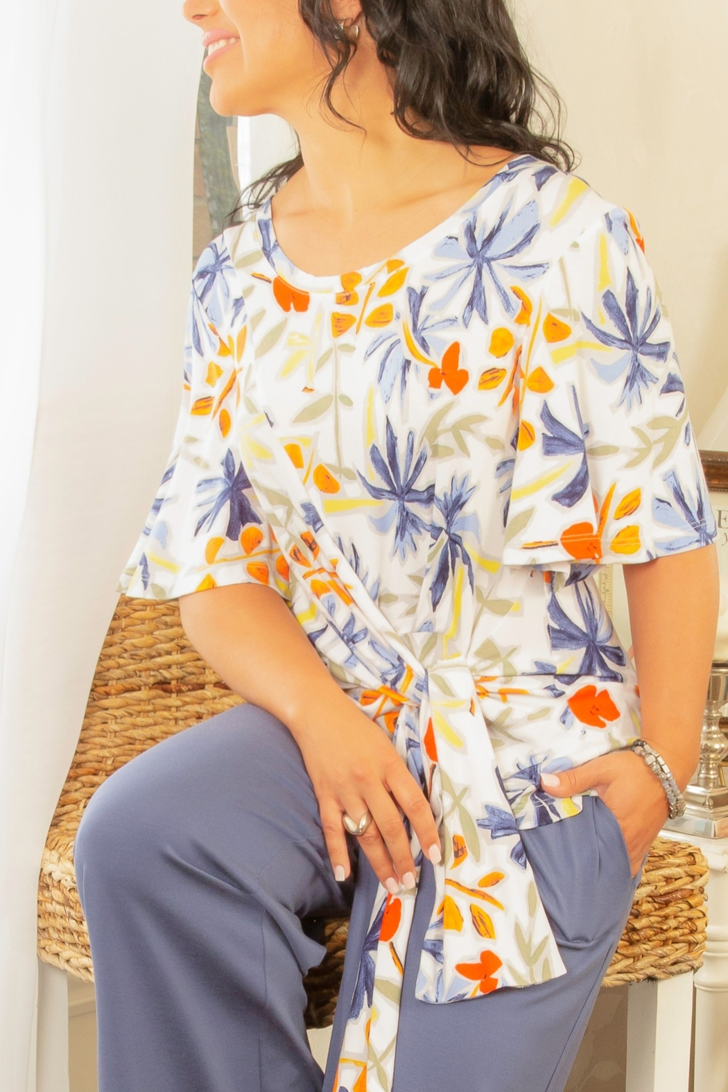 Pure Essence Tie Front Top - Main Image
