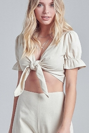 blue blush Tie Front Top - Product Mini Image