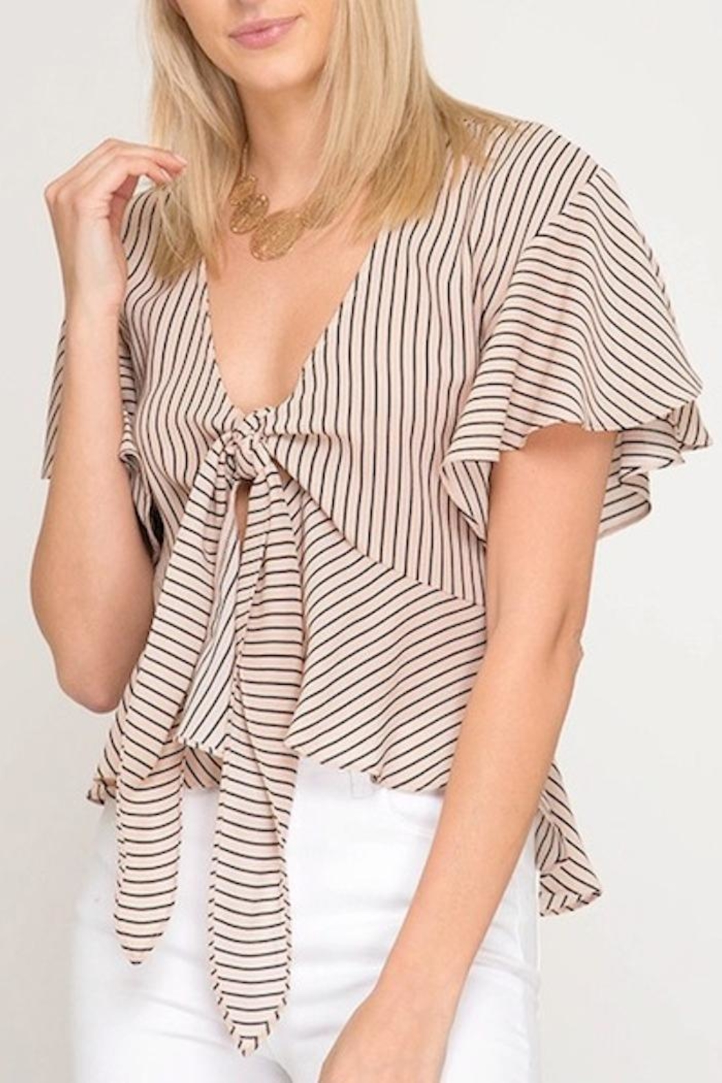 She + Sky Tie Front Top - Main Image