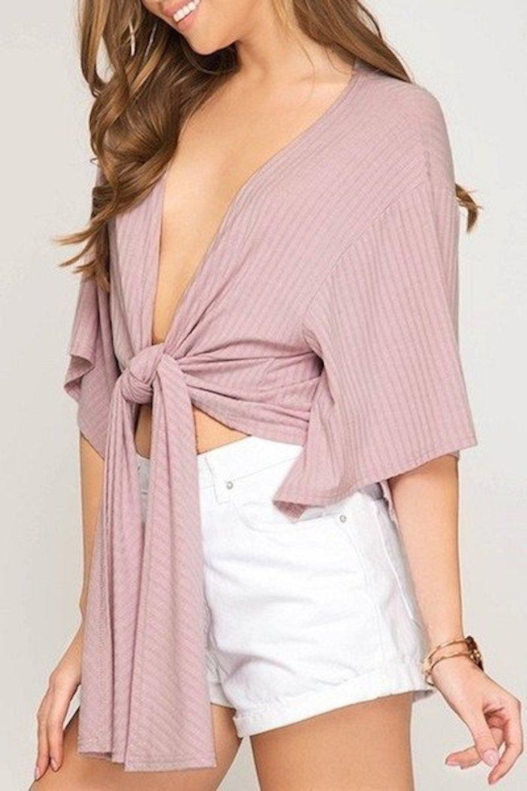She + Sky Tie Front Top - Front Full Image