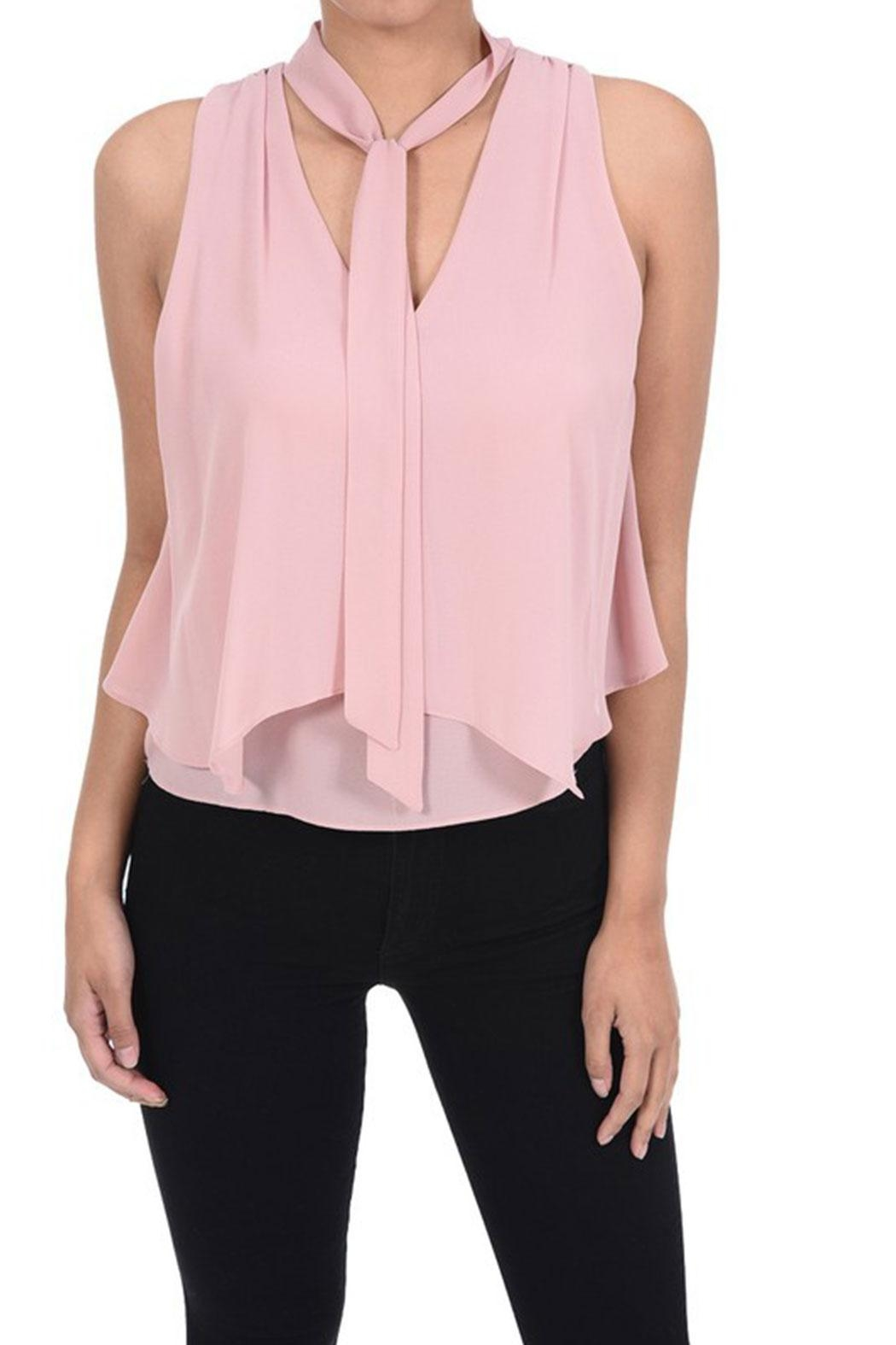 MICHEL Tie Neck Top - Front Cropped Image