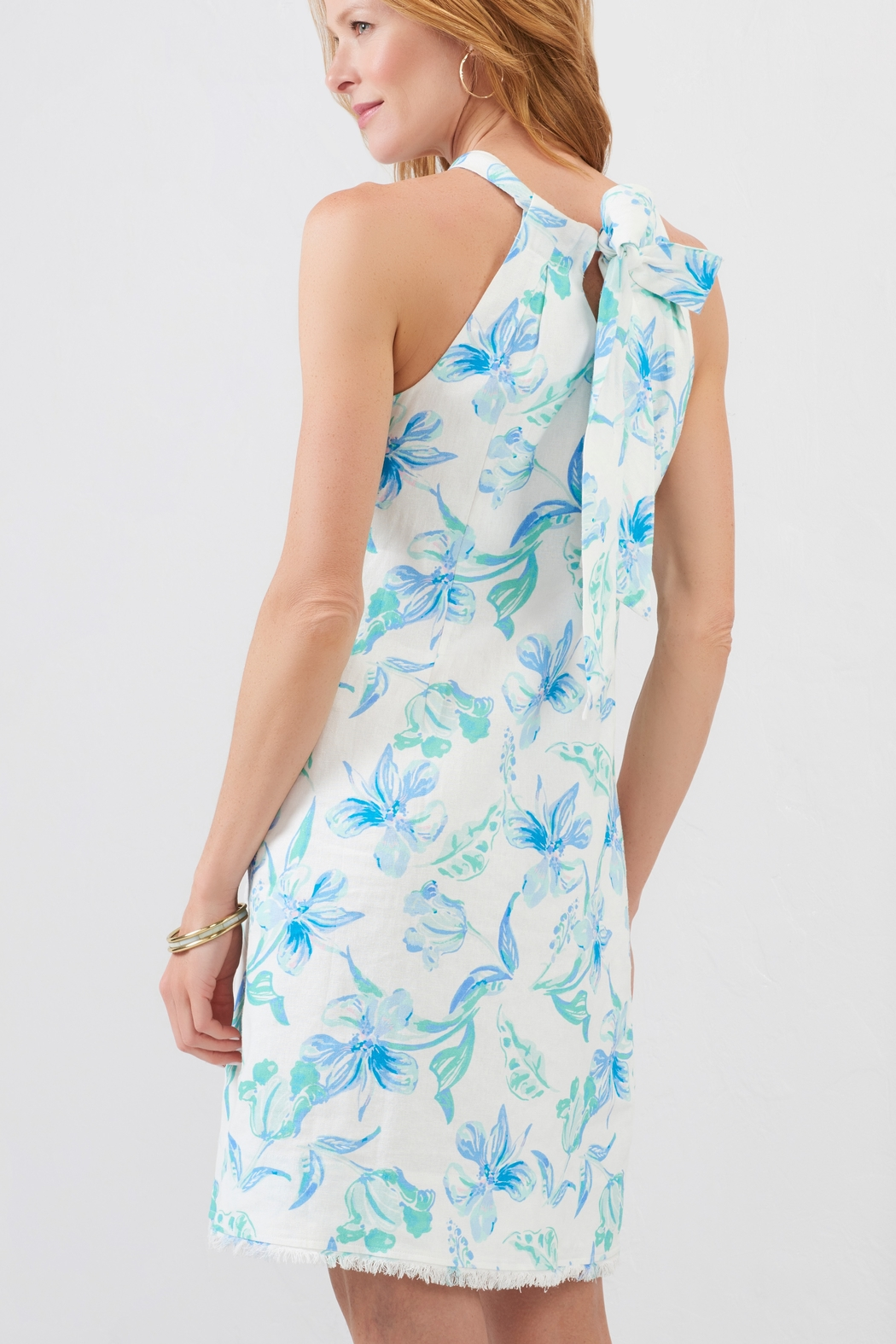 Charlie Paige Tie Neck Watercolor Floral - Side Cropped Image