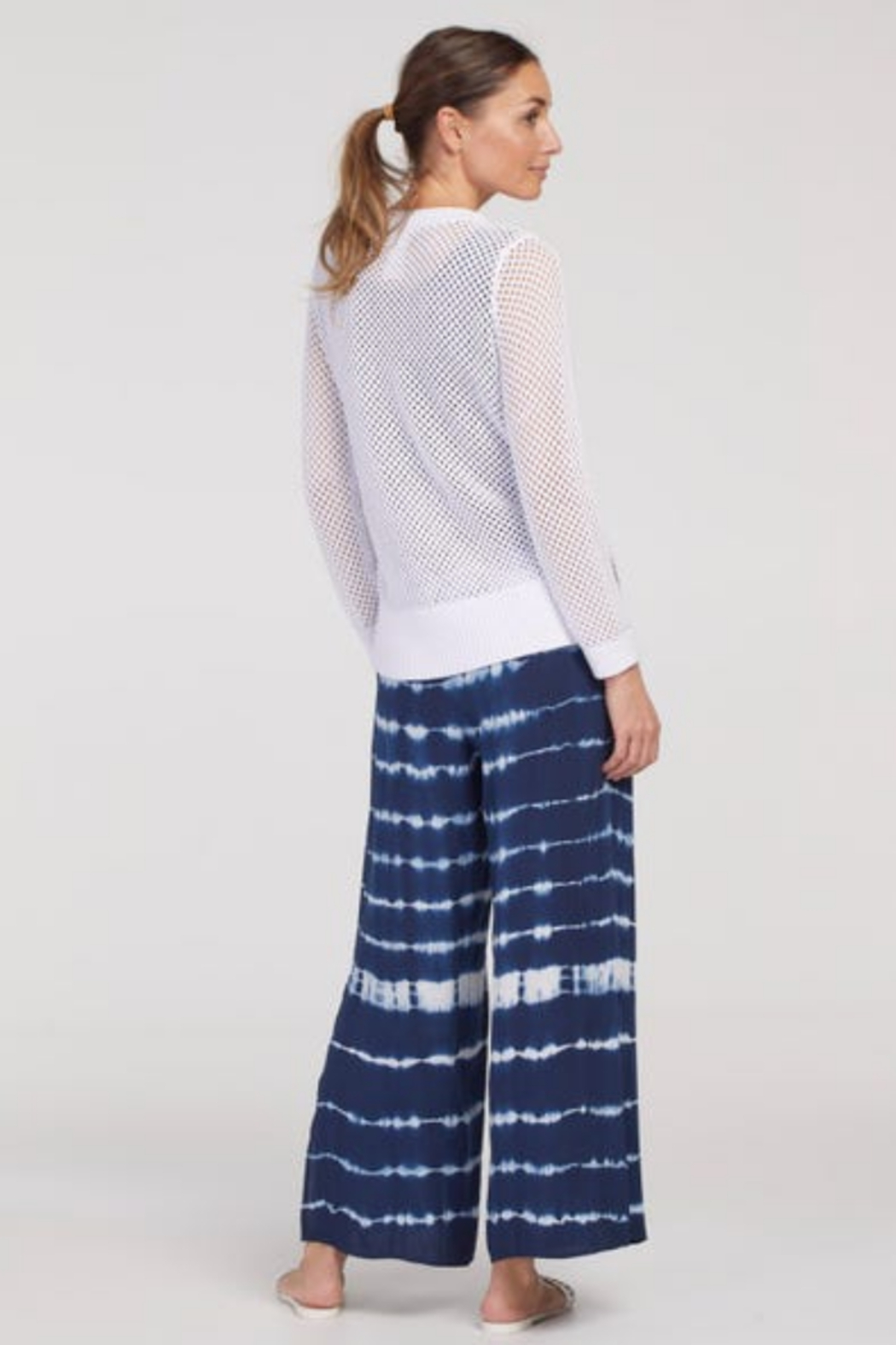 tribal  Tie Pants With Side Slit - Front Full Image