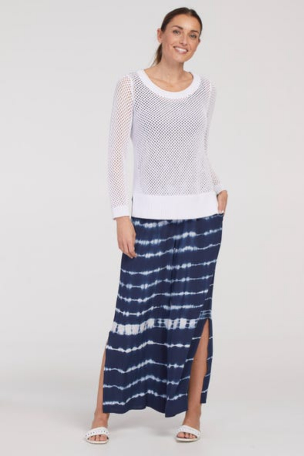 tribal  Tie Pants With Side Slit - Main Image