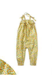 Tea Collection  Tie Shoulder Baby Romper - Wildflowers In Gold - Product Mini Image