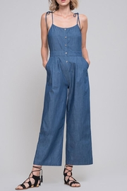 EVIDNT Tie-Shoulder Chambray Jumpsuit - Product Mini Image