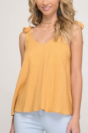 She & Sky  Tie Shoulder Polka Dot Tank - Product Mini Image