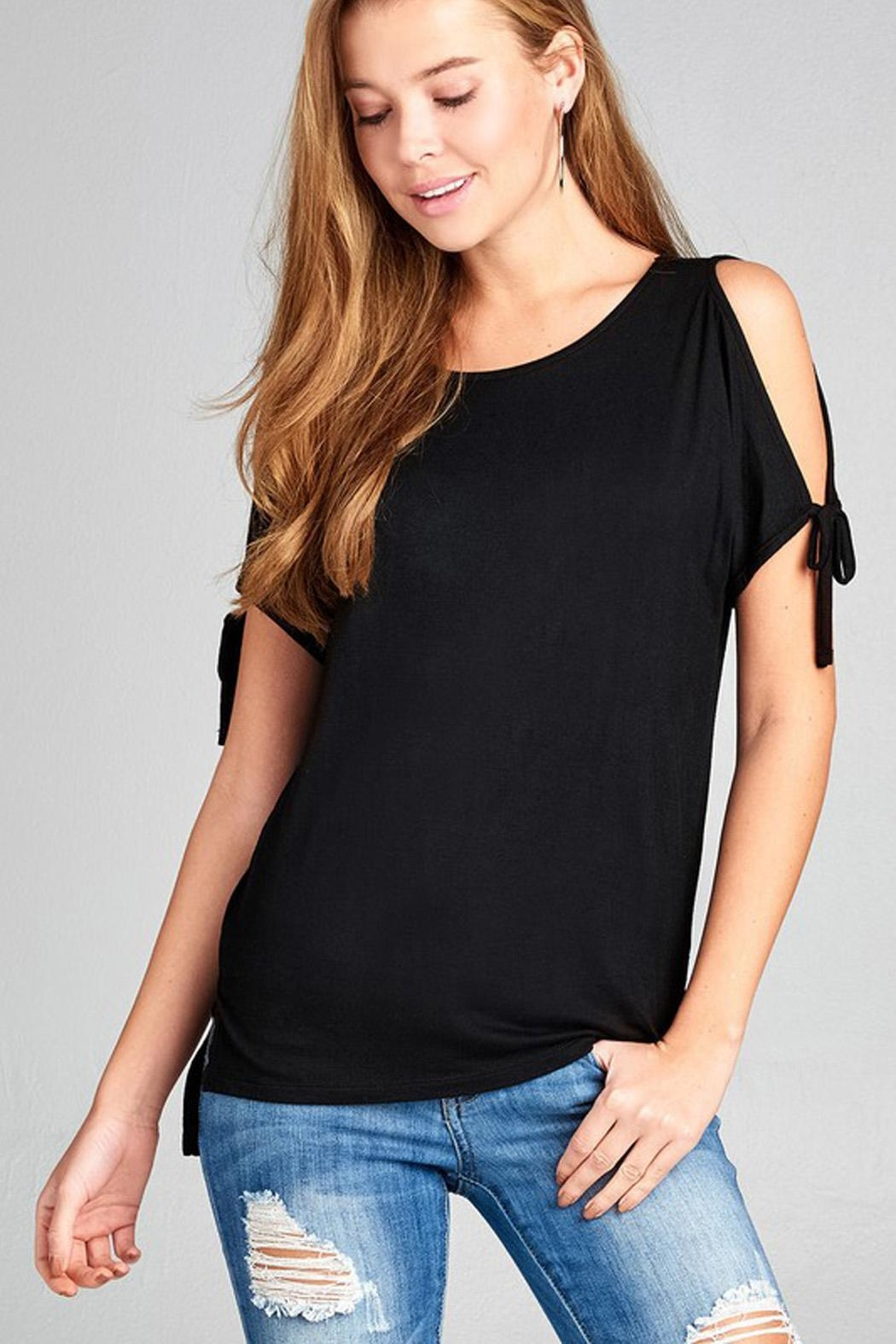 ambiance apparel Tie Shoulder Top - Front Cropped Image