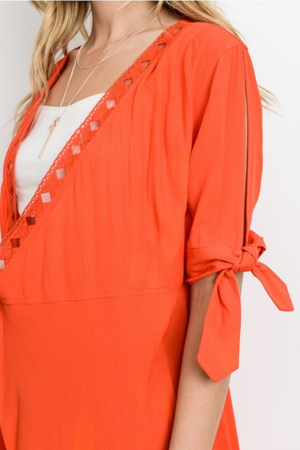 Le Lis Tie Sleeve Dress - Front Full Image