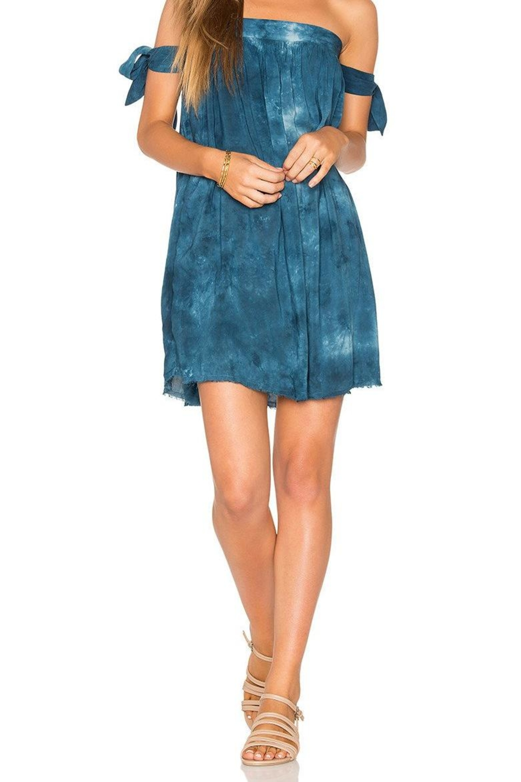 Blue Life Tie Sleeve Dress - Front Full Image