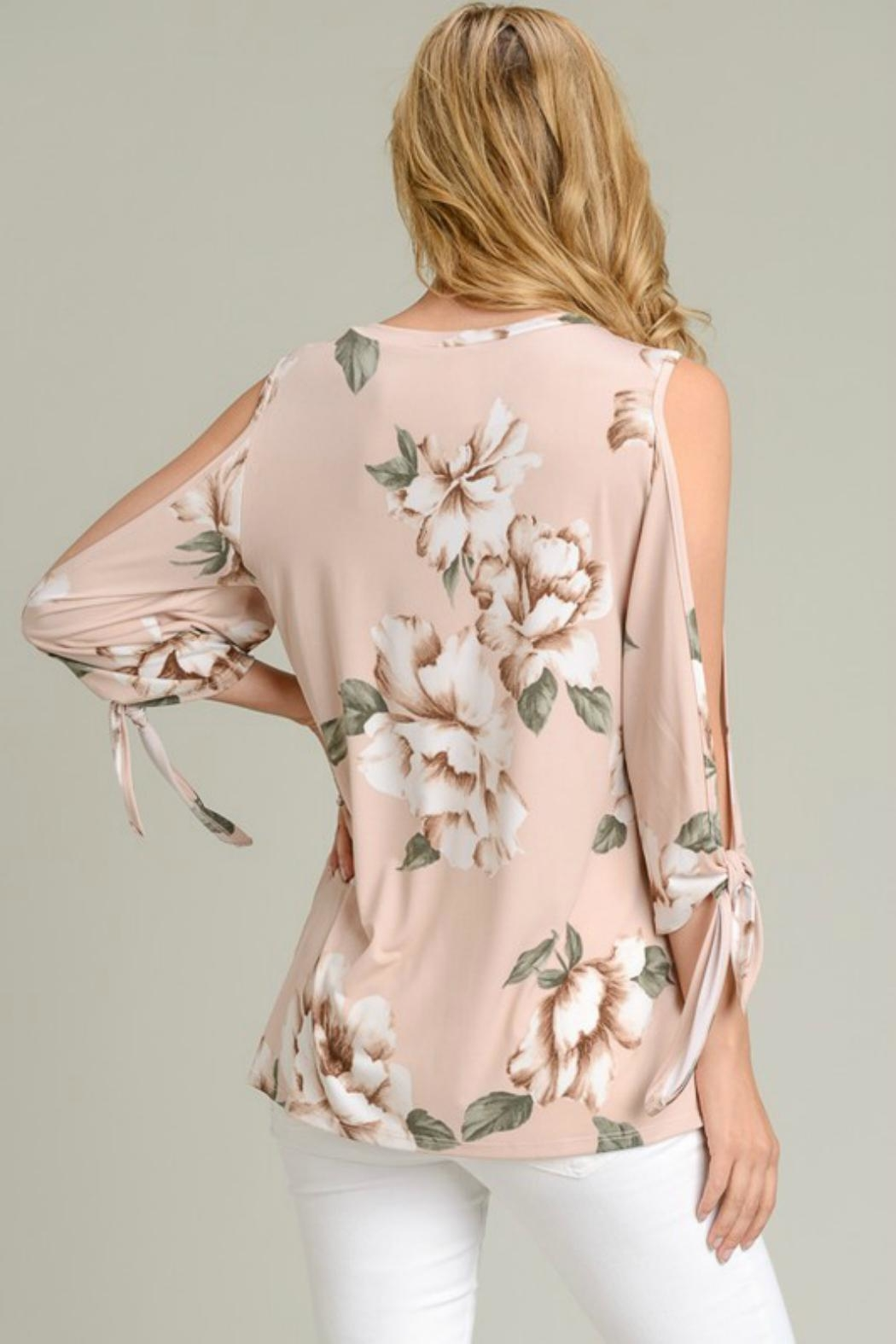 vanilla bay Tie-Sleeve Floral Tunic - Side Cropped Image