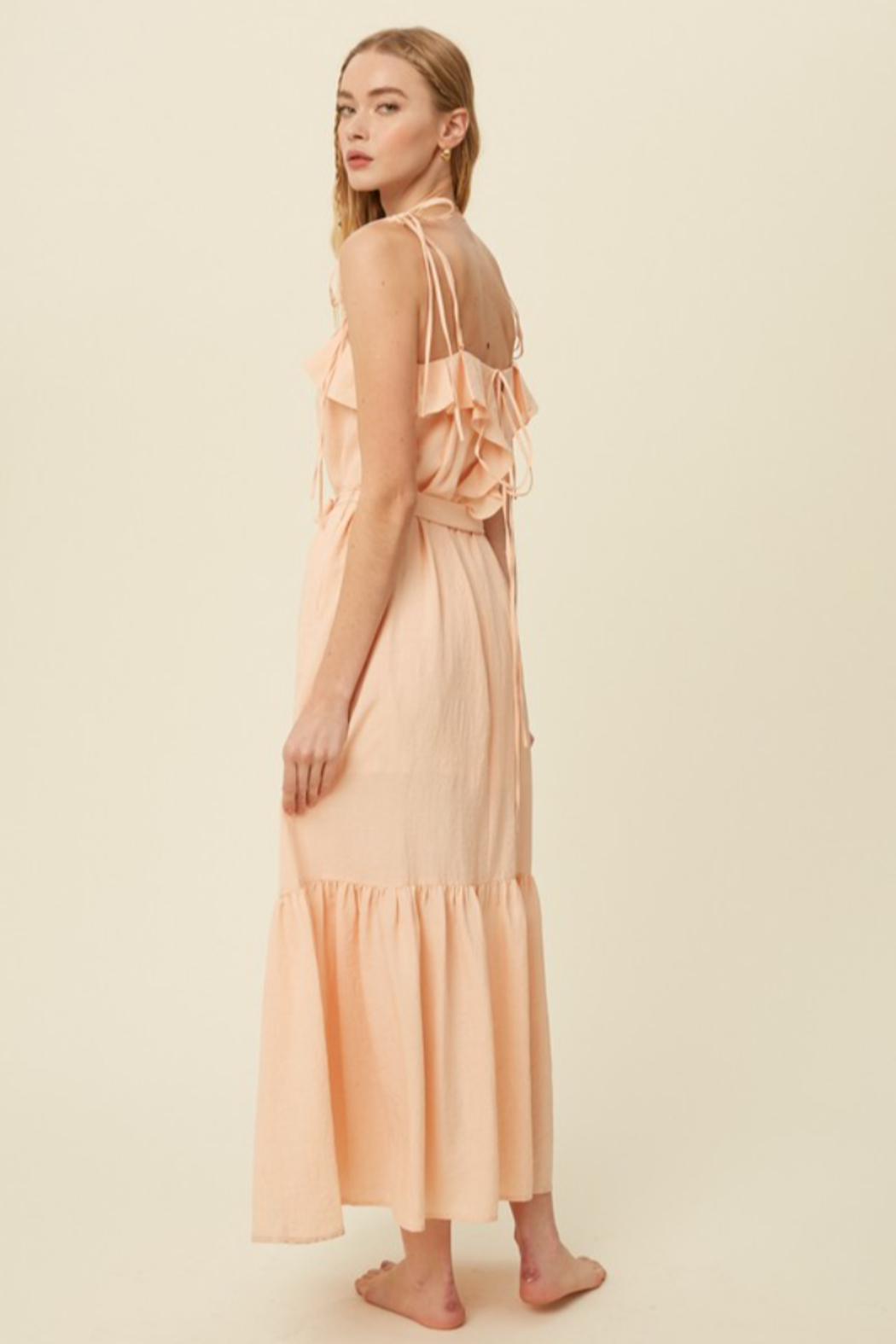 Listicle Tie Strap Ruffle Maxi Dress - Front Full Image