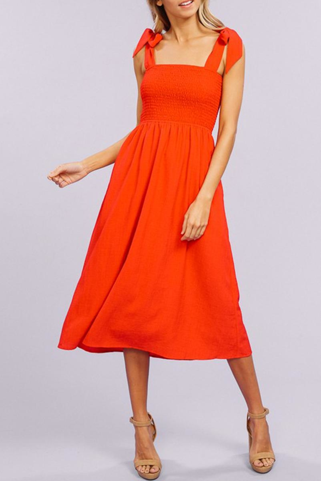Listicle Tie-Strap Smocking Midi-Dress - Front Full Image