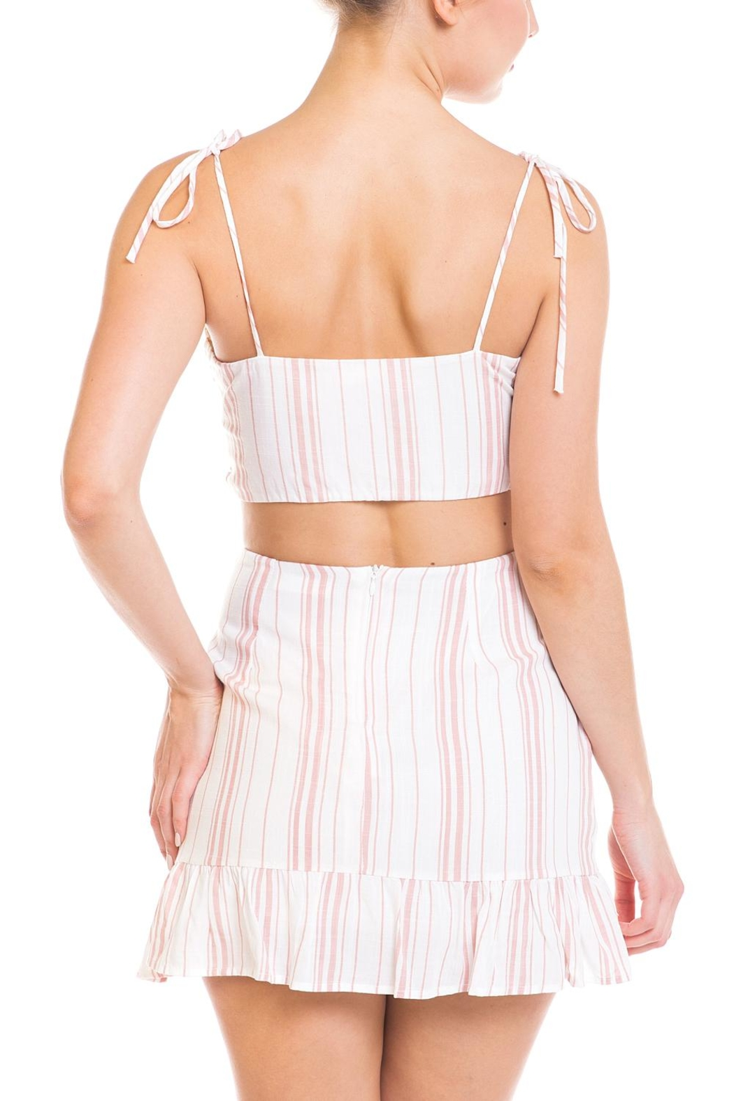 Emory Park Tie Stripe Skirt-Set - Back Cropped Image