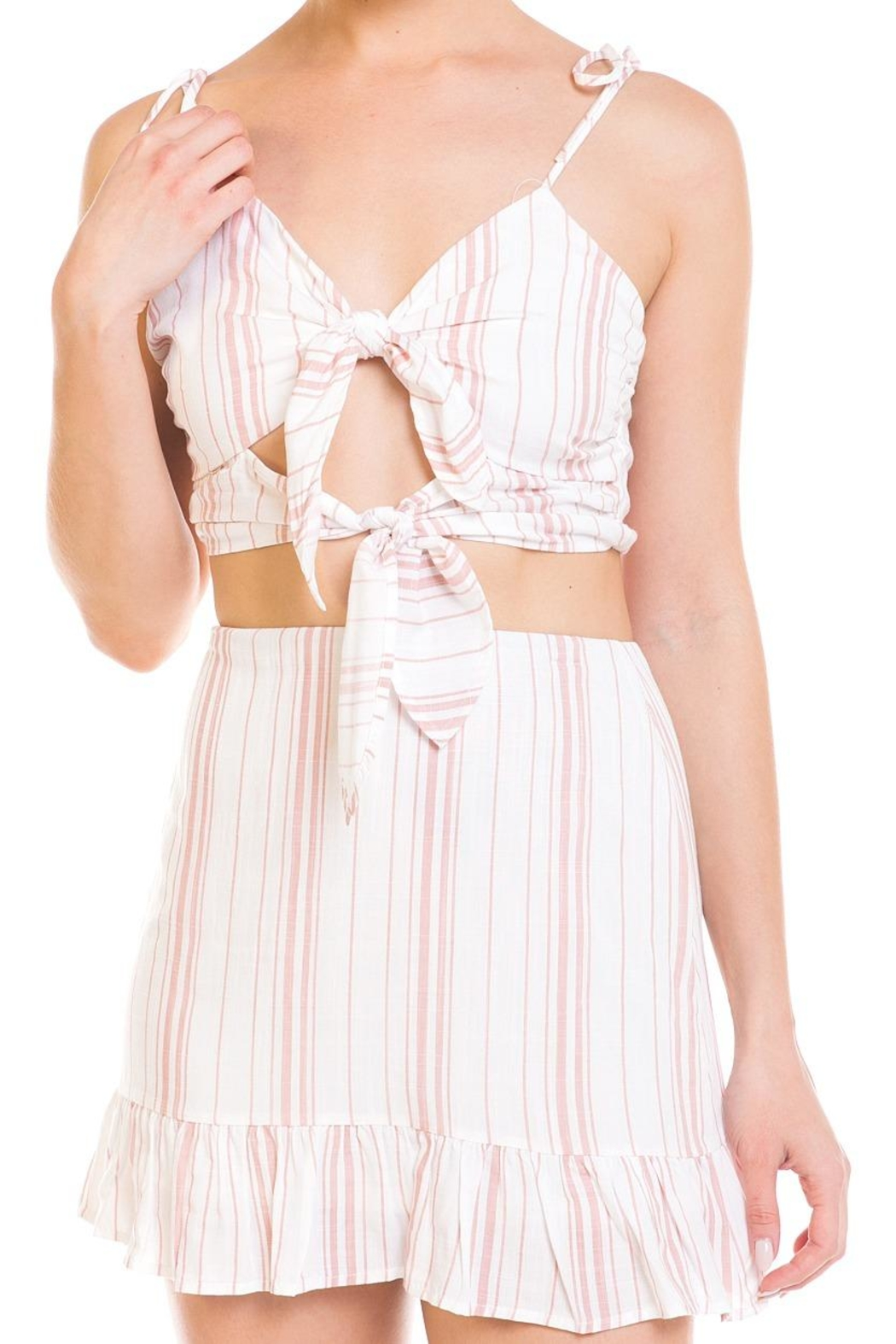Emory Park Tie Stripe Skirt-Set - Front Full Image