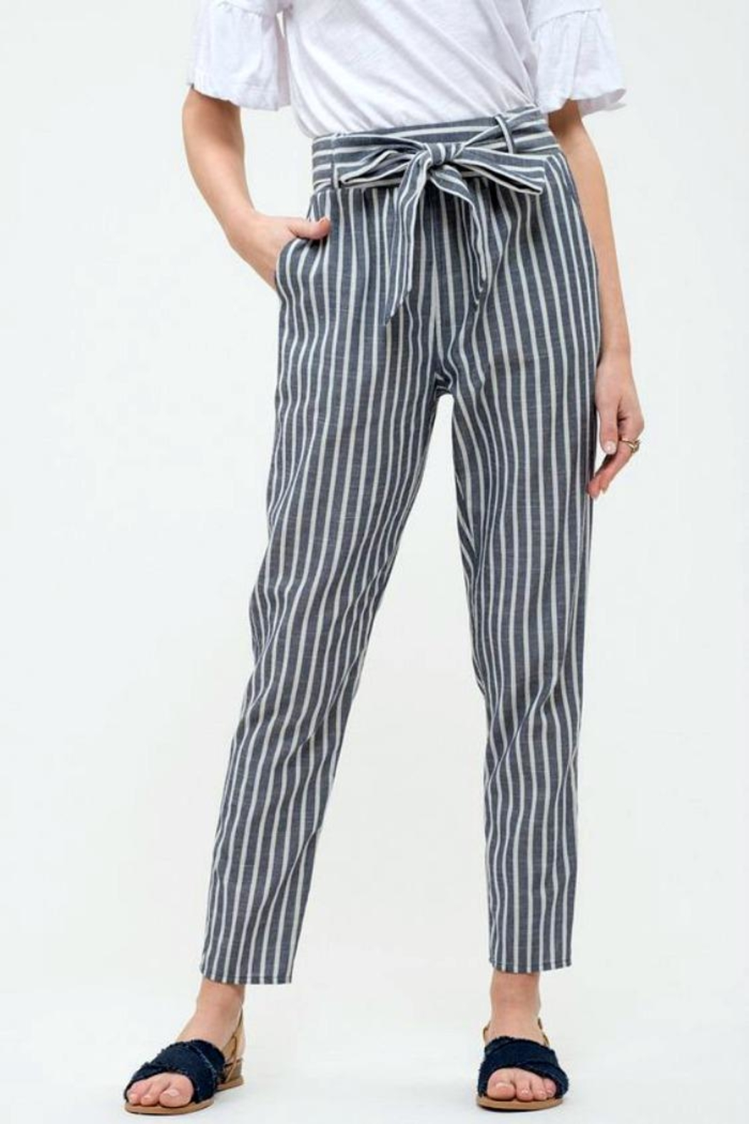 Blu Pepper Tie Striped Pants - Main Image