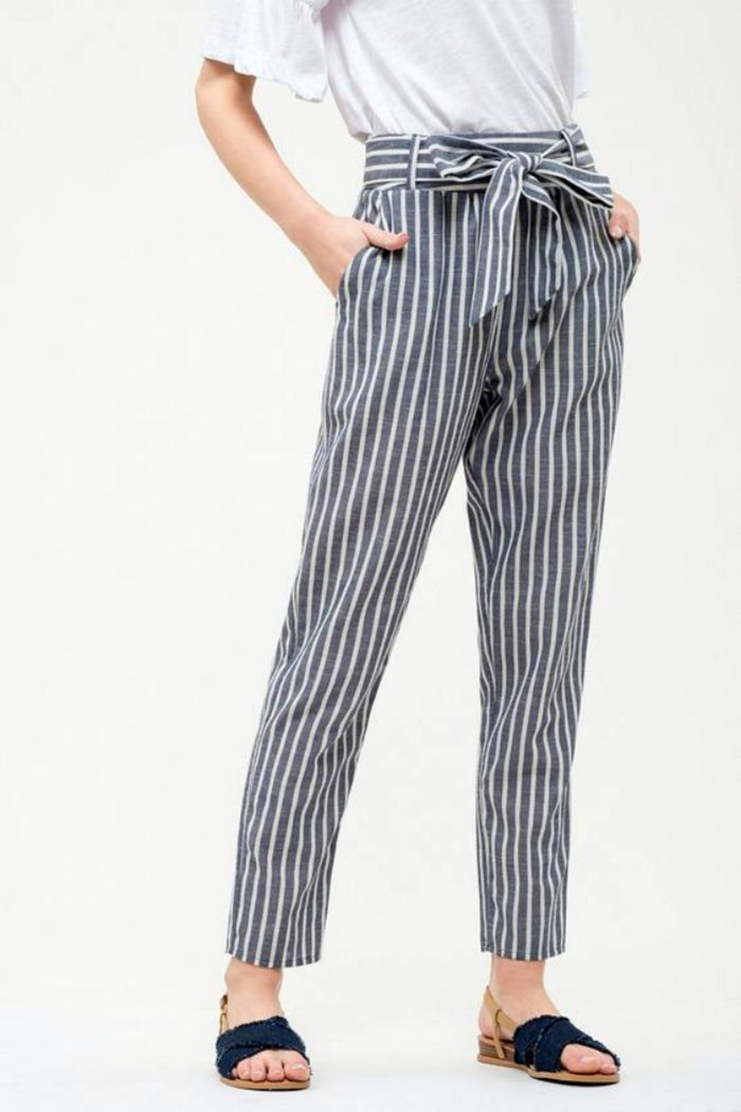 Blu Pepper Tie Striped Pants - Front Full Image