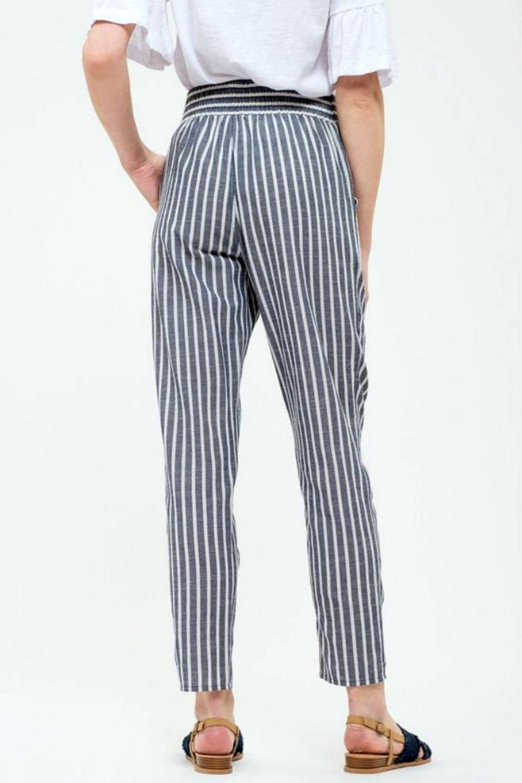 Blu Pepper Tie Striped Pants - Back Cropped Image