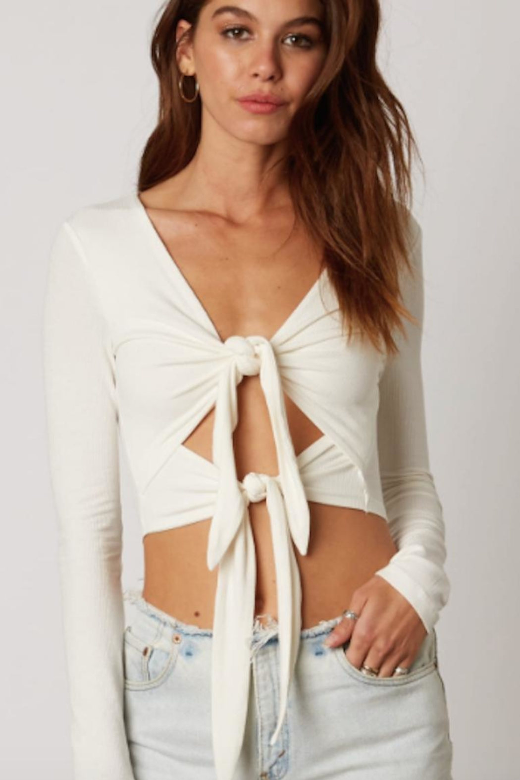 TIMELESS Tie Tier Top - Front Cropped Image
