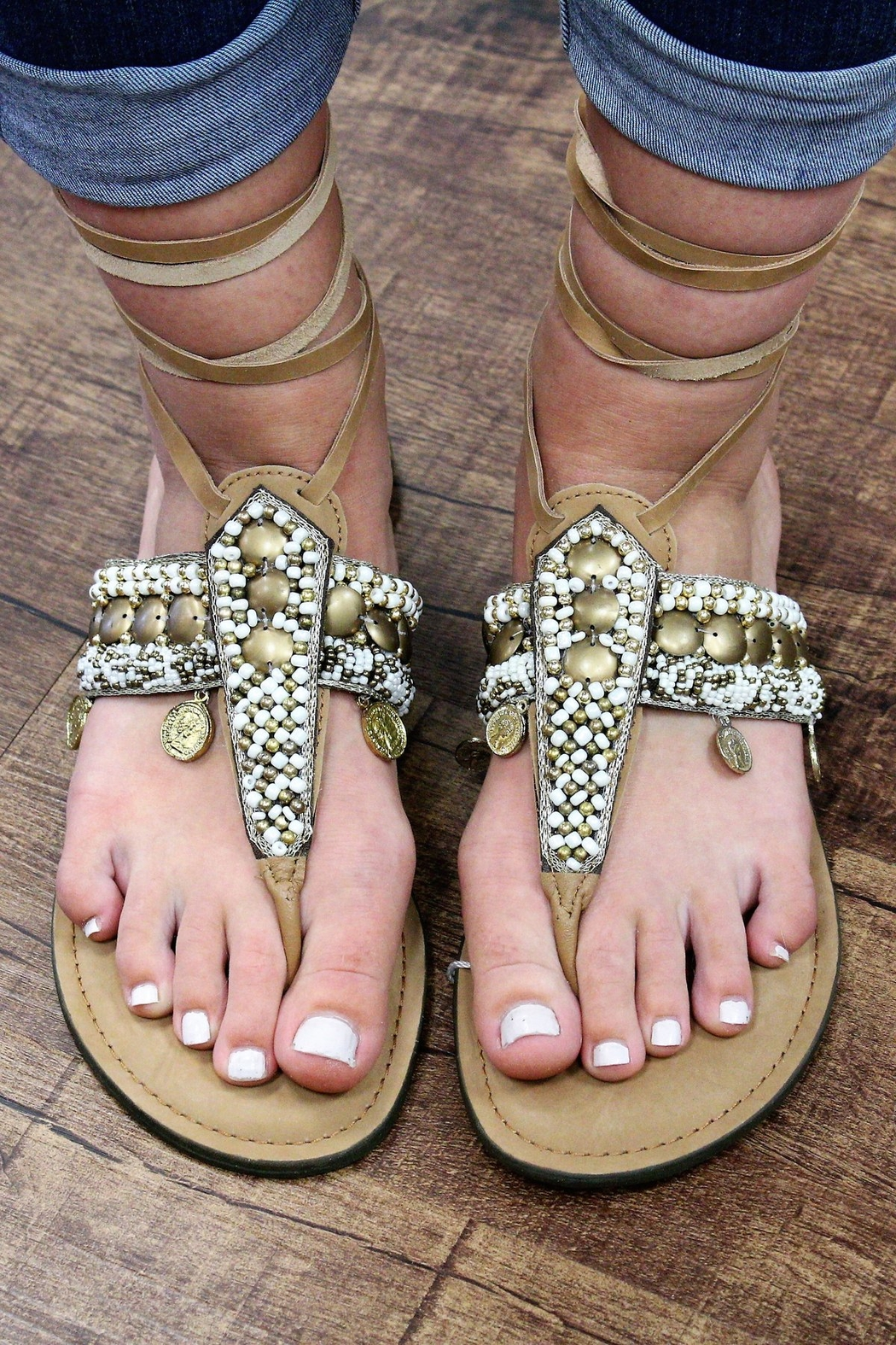 America and Beyond Tie-Up Beaded Leather Sandals - Main Image