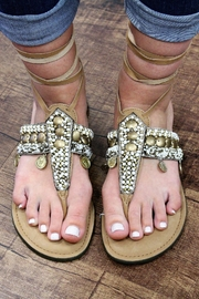 America and Beyond Tie-Up Beaded Leather Sandals - Product Mini Image