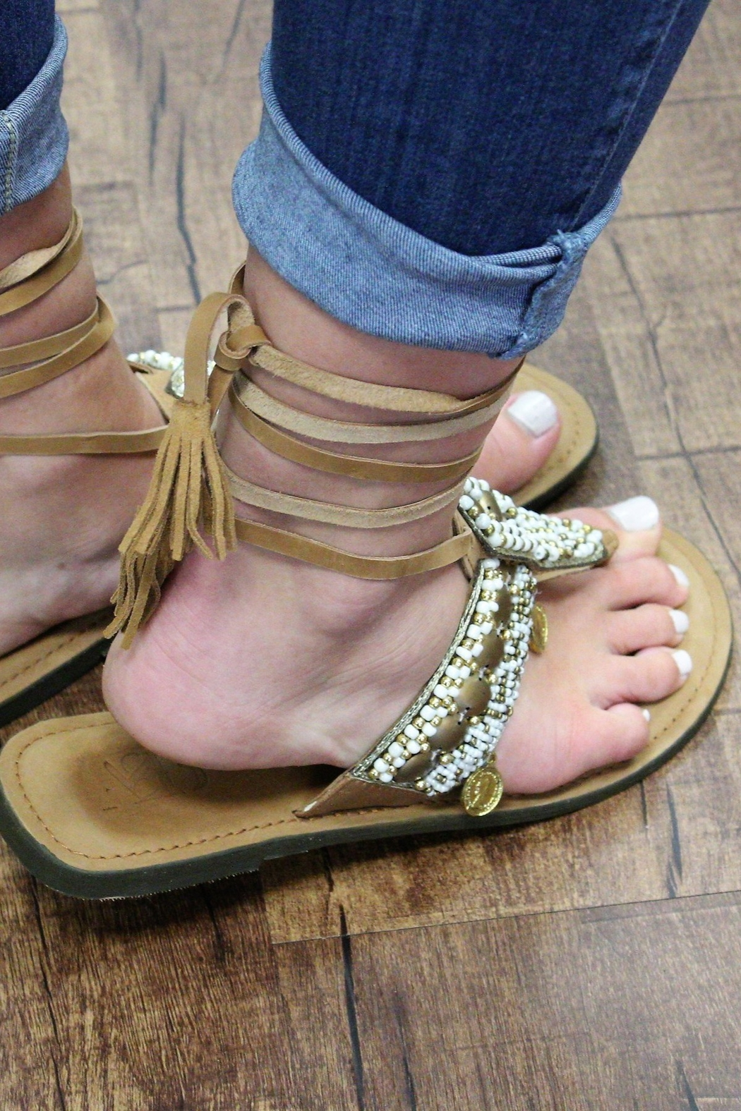 America and Beyond Tie-Up Beaded Leather Sandals - Front Full Image