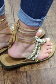America and Beyond Tie-Up Beaded Leather Sandals - Front full body