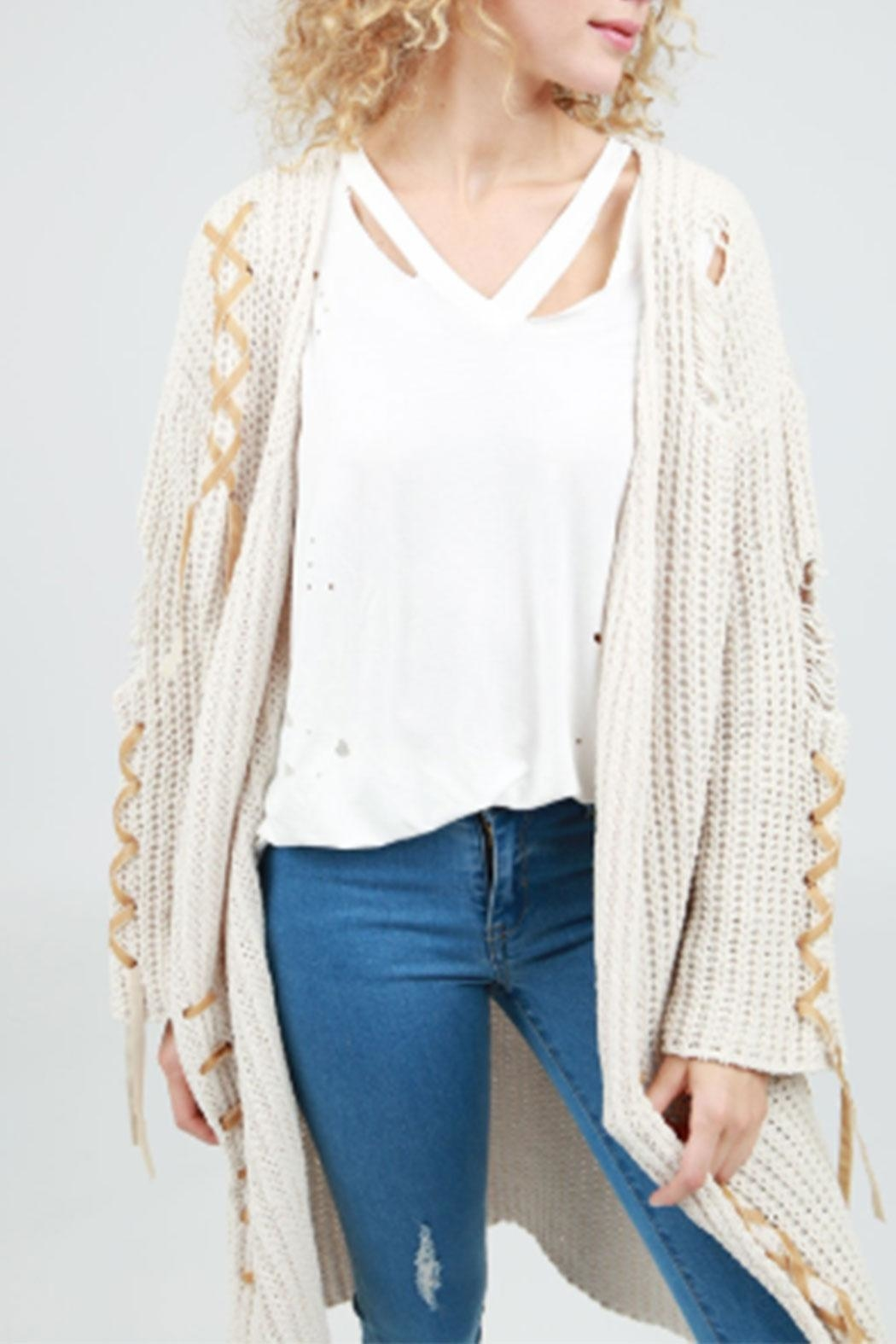 POL Tie-Up Cable-Knit Cardigan - Front Full Image