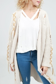 POL Tie-Up Cable-Knit Cardigan - Front full body