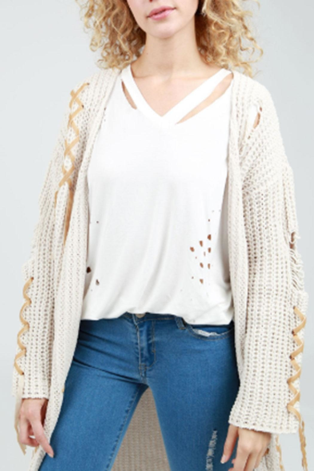 POL Tie-Up Cable-Knit Cardigan - Main Image