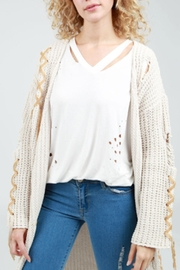 POL Tie-Up Cable-Knit Cardigan - Product Mini Image