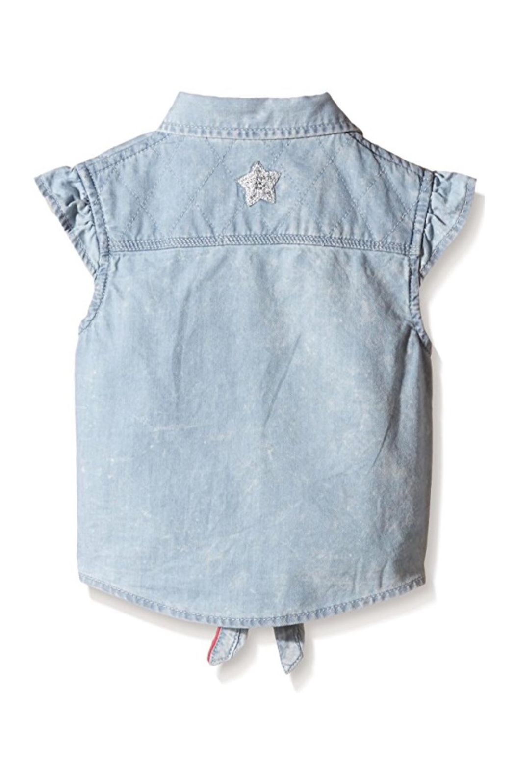 3 Pommes Tie-Up Chambray Shirt - Front Full Image