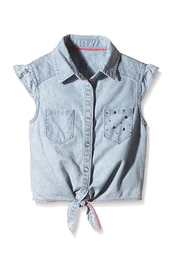 3 Pommes Tie-Up Chambray Shirt - Front cropped